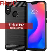 FHUIL Pure color Bumper Shockproof Case For Xiaomi Redmi 6 pro Cover Protective Fundas Luxury Carbon Fiber TPU case