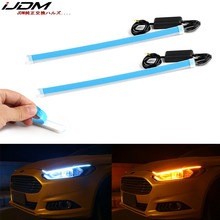 iJDM 30/45/60CM DRL car Daytime car Running Light Flowing Slim Turn Signal Light Sequential Flexible Angel Eyes Car LED Strip(China)