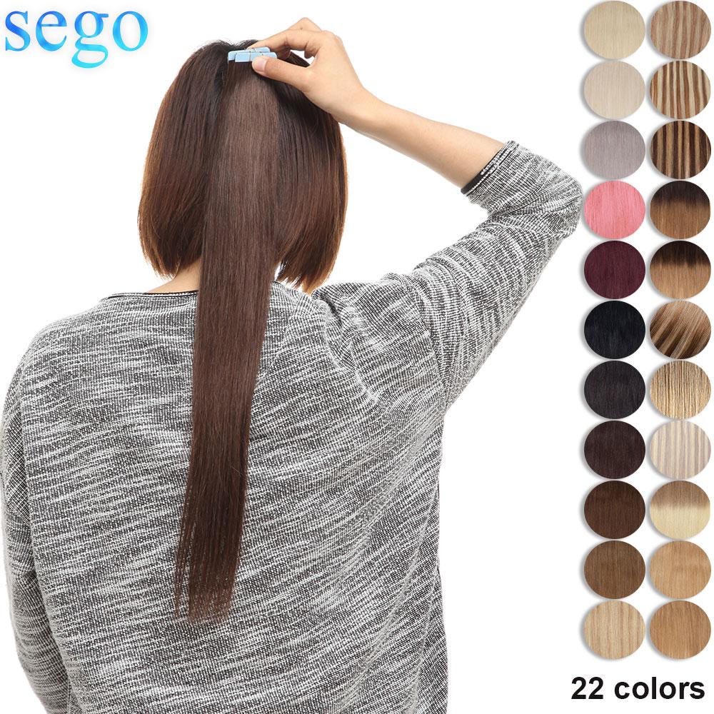 SEGO 2,5 г/шт. прямые ленты для наращивания волос Remy человеческие волосы для наращивания бесшовные Невидимые Двусторонние ленты ins 10/20/40 шт.