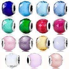 BRELOQUES À ASSEMBLER SOI-MÊME En Forme De Boule Petite Facettes Cristal Murano Verre 925 en Argent Sterling Perles De Mode Bracelet Bijoux