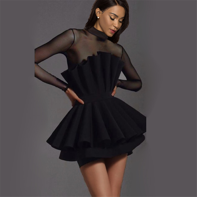 Black Mesh Patchwork <font><b>Dress</b></font> Party <font><b>Sexy</b></font> Sheer Tulle Sleeve <font><b>Transparent</b></font> Women Vestido Club Bodycon Event <font><b>Backless</b></font> Celebrate Fashion image