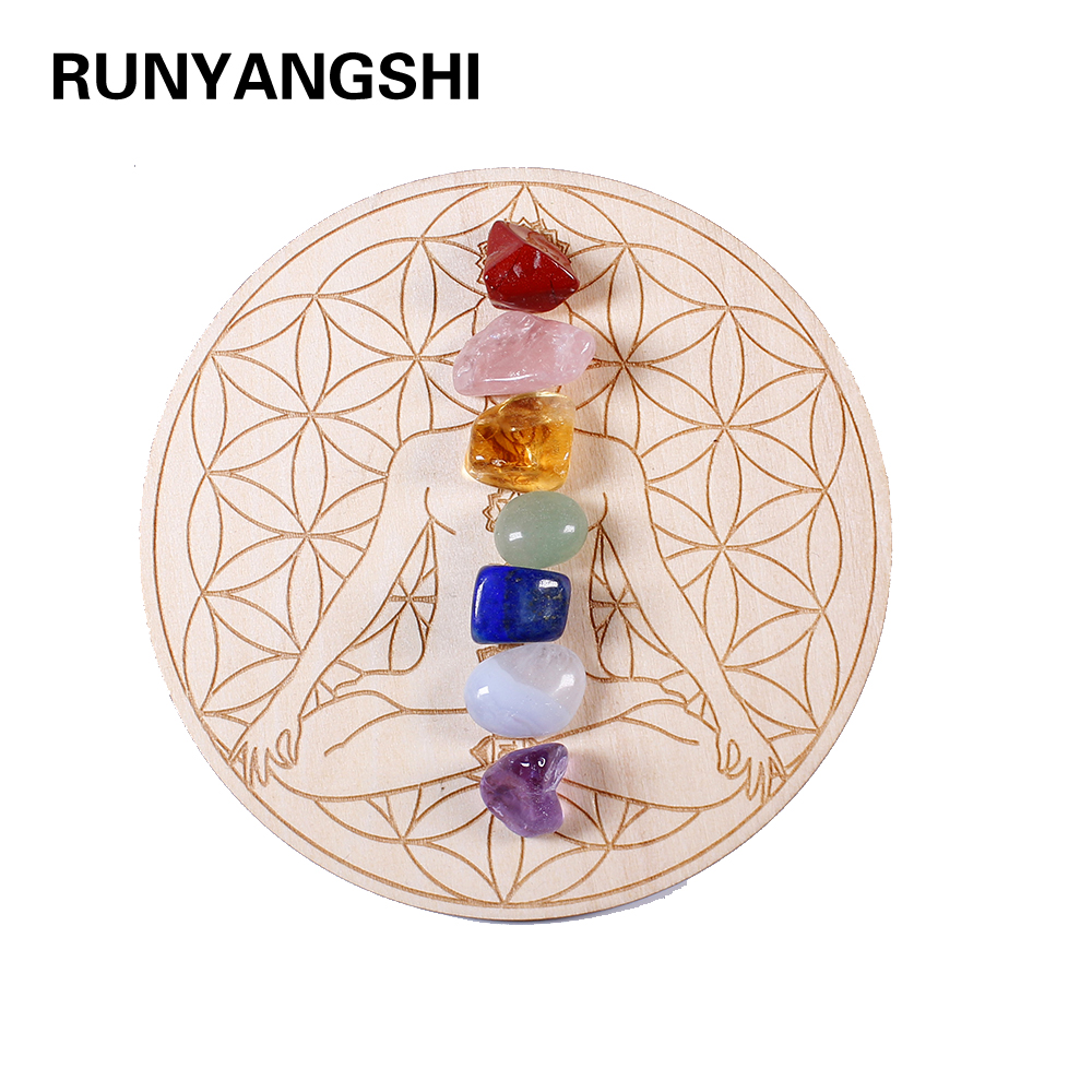 7pcs/set Natural Crystal Mixed seven Chakra Healing Stone + Seven Star Array Wood Plate Gravel Chips Chakra Home decor Gift