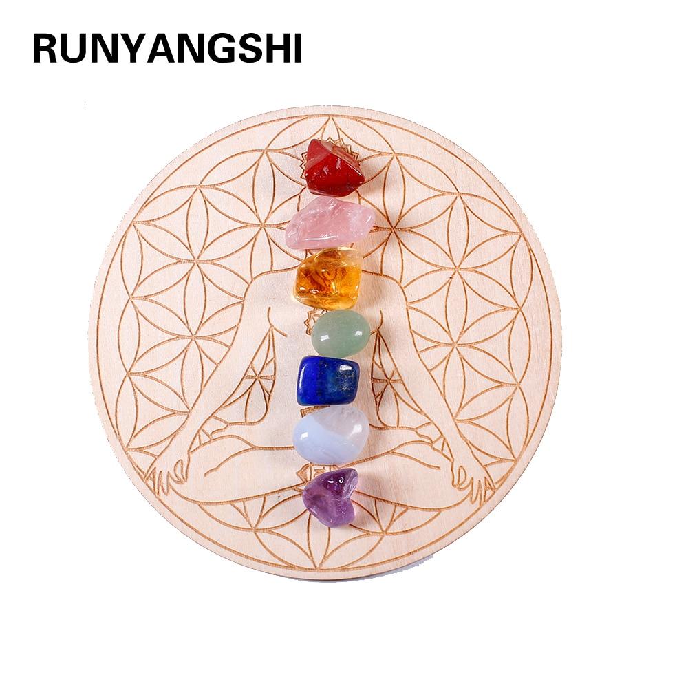 7pcs/set Natural Crystal Mixed seven Chakra Healing Stone + Seven Star Array Wood Plate Gravel Chips Chakra Home decor Gift