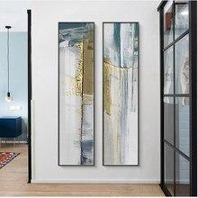 Pintura em tela com pedras verdes padrão, quadros de decoração geométrica, moderno minimalista vertical abstrata pinturas decorativas