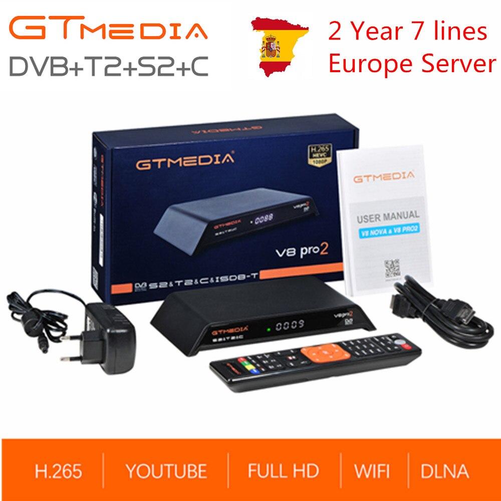 GTmedia V8 Pro2 DVB-T2S2 + C câble Combo récepteur de télévision par Satellite terrestre numérique intégré WIFI H.265 avec 2 ans Europe 7 ligne