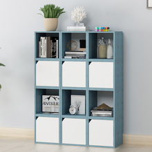цены Bookcase simple modern free combination single bookcase storage wood cabinet with door small cabinet shelf landing