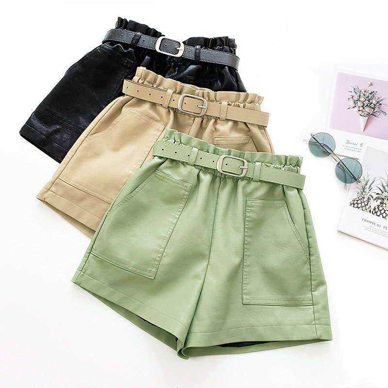 Women's PU Leather   Shorts   With Sashes Belts High Waist Autumn Winter Elastic Waist Ruffles   Short   Pants Lady Faux Leather   Shorts