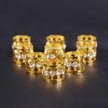 10/20/50 Pcs Gold Rhinestone Ring Dreadlock Beads for Braids Hair