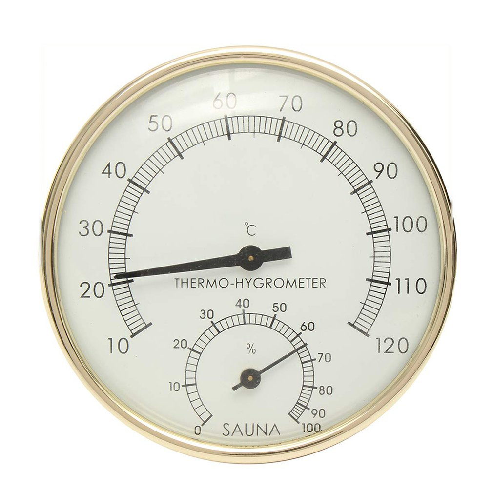 Sauna Thermometer Metal Dial Hygrometer Humidity Temperature Measurement Meter Indoor Room Accessory