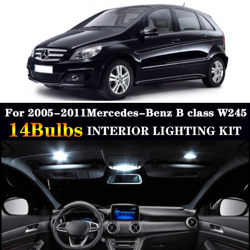14pcs LED license plate bulb interior light Kit For Mercedes For 2005-2011Mercedes-Benz B class W245 B150 B160 B170 B180 B200
