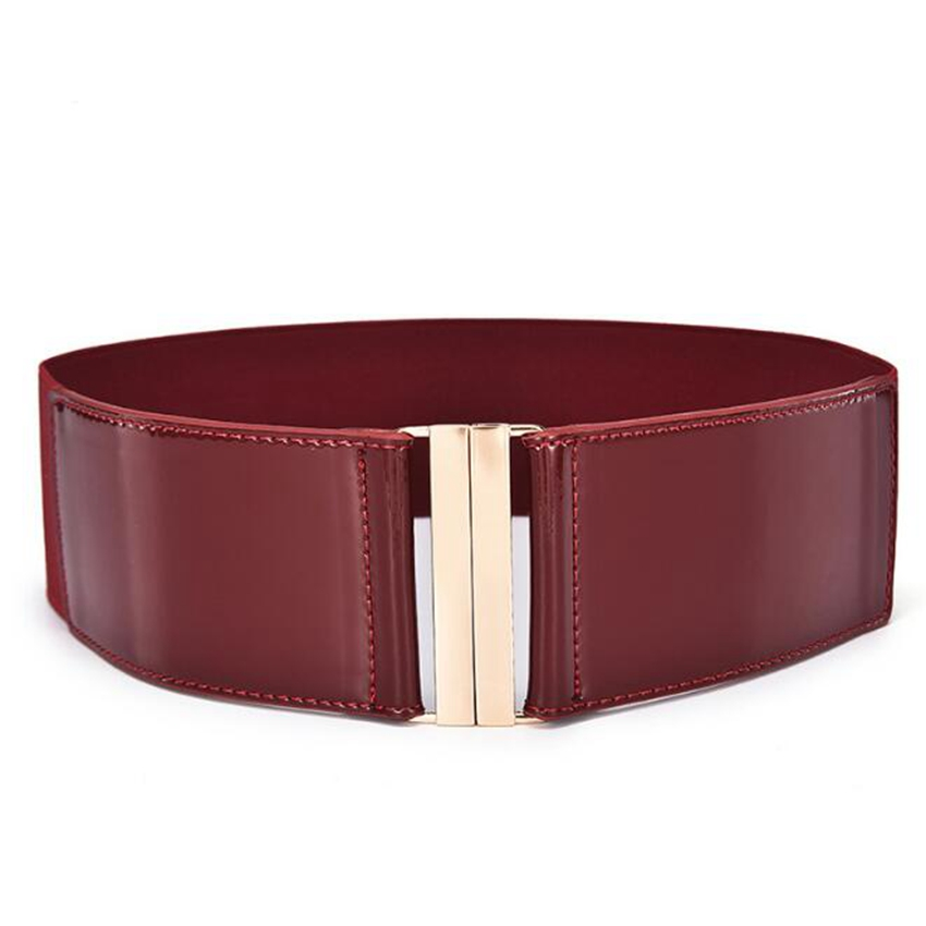 Classic Leather Belt For Women High Waist Belts Simple Fashion Elastic Waistband Stretch Strap Cinch Belt Red Black Color