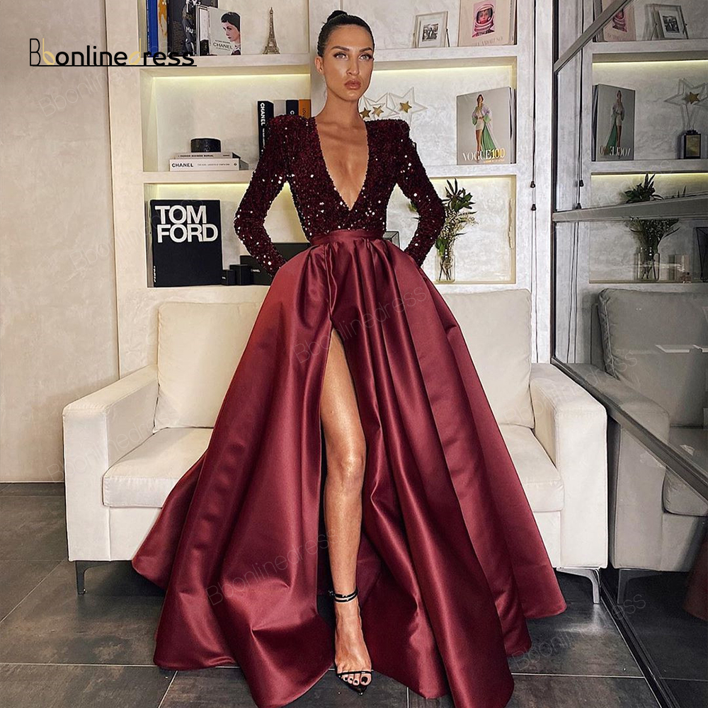Burgundy Prom Dress Sparkly Sequined Long Prom Dresses V-Neck A-Line Split Full Sleeve Party Gowns Vestido-de-festa