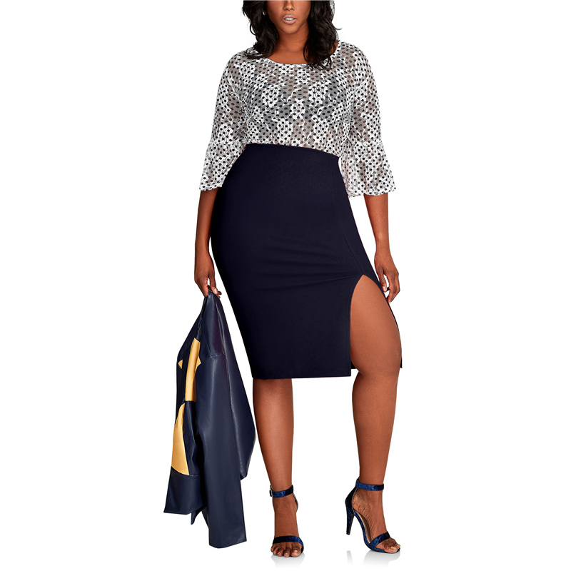 CACNCUT Big Size High Waist Bag Thigh Skirt Business Casual Skirt For Women 2019 Plus Size Bodycon Pencil Office Skirt Black 6XL 25