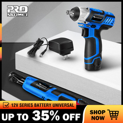 PROSTORMER Electric Ratchet Wrench 12V Cordless 3/8 Inch 2000mAh Lithium Battery Electric Wrench with Led Light Car Repair Tool