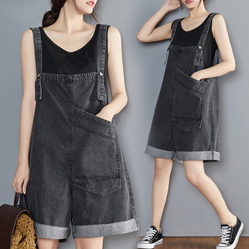 2021 New Summer Korean Preppy Style Jumpsuit Denim Overalls Pocket Casual Girls Black Jeans Shorts Womens Korean Preppy Style