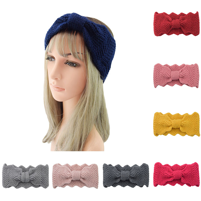 1PC Wide Hairband Wool Knitted Headband Winter Hair Accessories Ear Warmer Big Wave Shaped Elastic Handmade Head Wrap