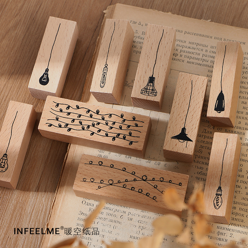 10Pcs\DIY Cute Creative Fun Personality Vintage Wood Stamp Seal Diary Calendar Scrapbook Student Stationery Office Supplies