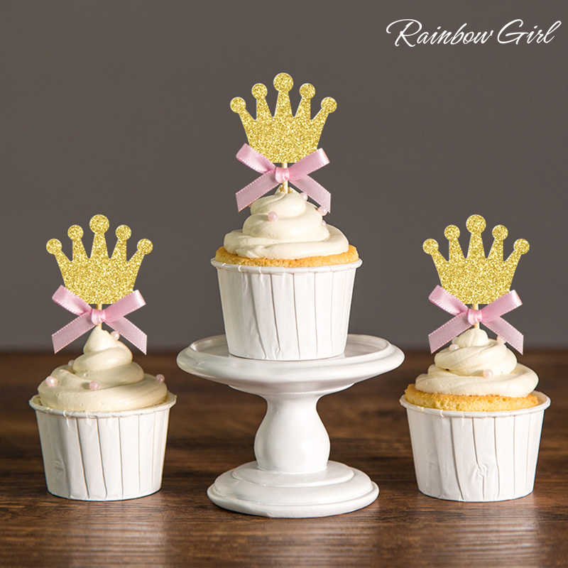 1st Birthday Princess Party Decorations Silver Gold Glitter Pink Bow Crown Cupcake Toppers Royal Baby Shower Decor Food Picks Cupcake Toppers Princess Party Decorationbaby Shower Decorations Aliexpress