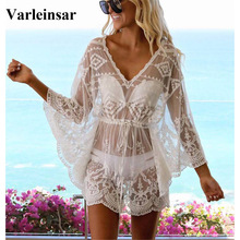 Crochet Tunic Swimsuit Beachwear Bikini Cover-Ups Sexy Lace Women V2051 Female