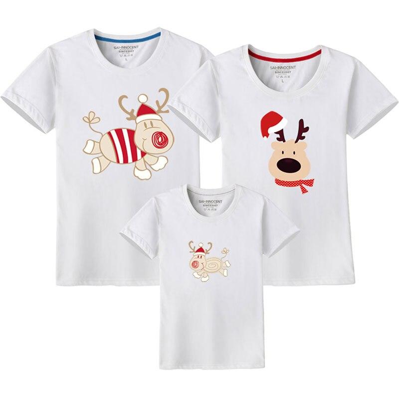 Семейный костюм для папы, мамы и ребенка; одинаковые рождественские комплекты для семьи; футболка для мамы и дочки; одежда с короткими рукавами для папы и сына - Цвет: White