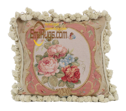Traditional Chinese Needlepoint Cushion Embroidery Pillow Case Headrest Pillow Pad Square Wool aubusson Cushion