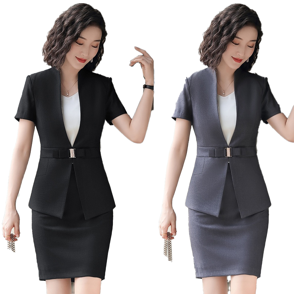 Female Elegant Formal Office Work Wear 2020 Summer Ladies Black Blazer Women Business Suits with Skirt and Jacket Sets Uniform