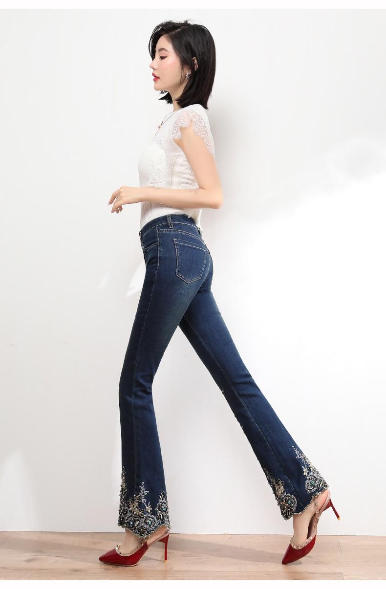 KSTUN FERZIGE Jeans Women High Waist Stretch Dark Blue Flared Pants Embroidery Hand Beads Bell Top Quality Mujer Jeans Plus Size 36 16