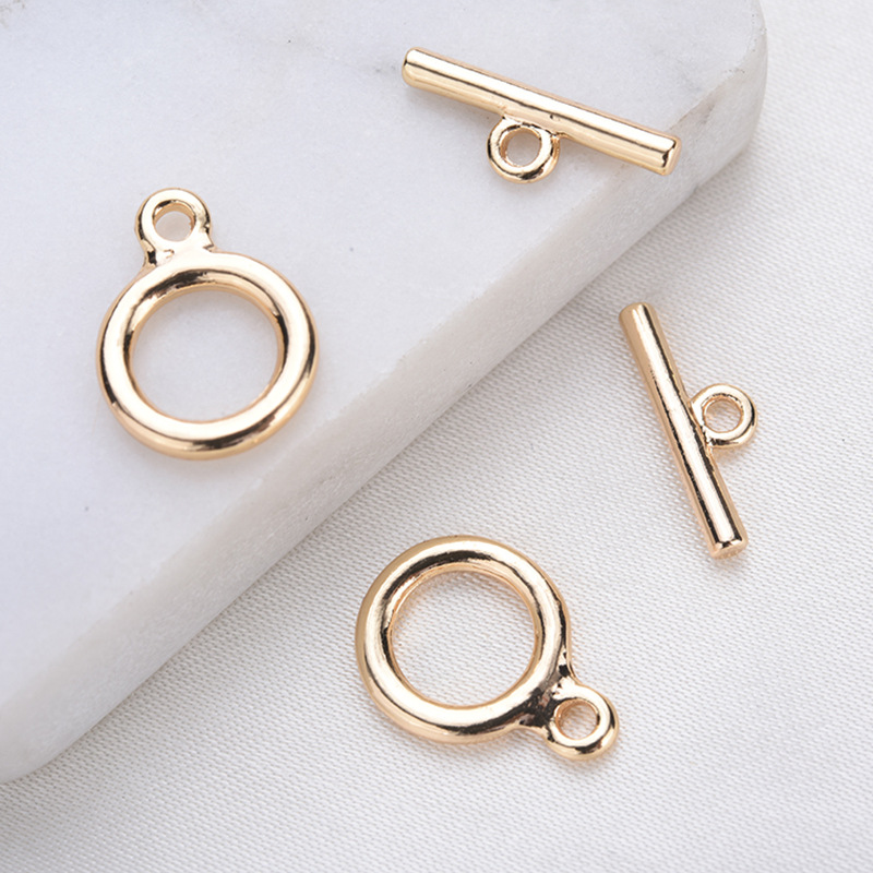 Латунный круглый браслет с покрытием 24-каратным золотом, 10 комплектов, 12 Х9 мм
