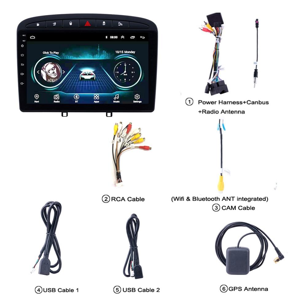 Автомагнитола для PEUGEOT 308 408 головное устройство 2010 2016 мультимедийная система gps Поддержка Carplay обратная камера SWC tv FM Android 8,1 9 - 3