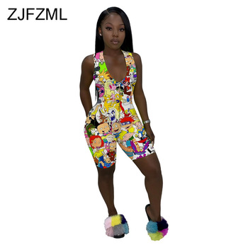 Front Zipper Harajuku One Piece Overalls Women Cartoon Character Print Bodycon Jumpsuit Casual V Neck Sleeveless Short Playsuit tiye women bodycon glitter rhinestones sexy shorts playsuit jumpsuit front zipper v neck sleeveless club romper summer overalls
