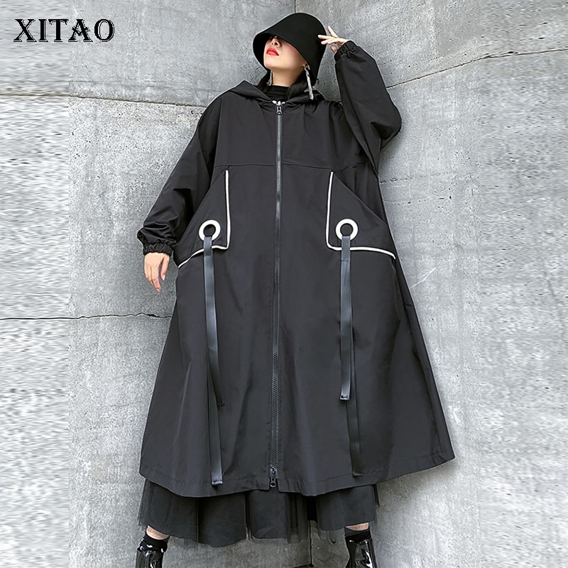 XITAO Tide Plus Size Patchwork Ribbon Trench Women Clothes 2020 Spring New Loose Casual Hooded Collar Long Coat Top GCC3386