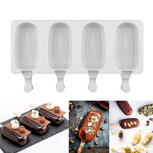 4 Cell Silicone Frozen Ice Cream Mold Juice Popsicle Maker Ice Lolly Pop for Kids with Sticks Moldes De Silicon Para Helados цена и фото