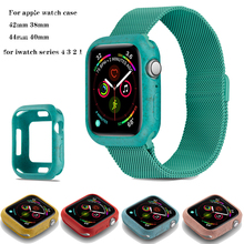 Slim watch cases For apple watch 5 4 44mm 40mm colorful Soft case Frame Full Protective Bumper Cover for iWatch 3 2 1 38MM 42MM magnetic cover for apple watch case apple watch 4 3 2 1 44mm 42mm iwatch case 40mm 38mm frame protective case anti fall bumper