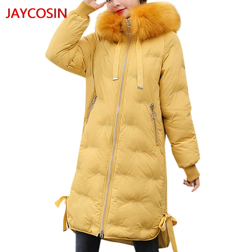 JAYCOSIN Women's   Parkas   Women Fashion Outerwear coat Long Cotton-padded Jackets Pocket Faux Fur Hooded Coats Hot sale L4008027