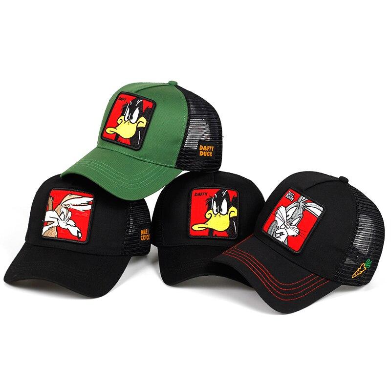 New Animals Duck Embroidery Men's Baseball Cap Women Snapback Hip Hop Cap Summer Mesh Hat Trucker Cap Bone Gorra Dad Hat