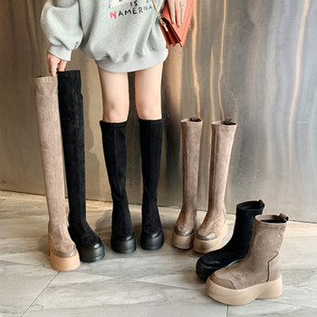 New Long Botos Flat Platform Boots Women Shoes Slim Over The Knee Boots Sexy Female Autumn Winter Fashion Lady Thigh High Boots anmairon new winter boots concise style women shoes over the knee high boots platform round toe thick heels shoes platform boots