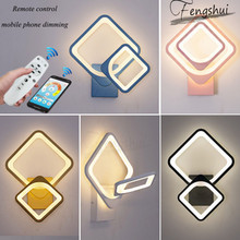 Modern Dimmable LED Wall Lamp Lighting Minimalist Bedside Wireless Remote Control Wall Light Dining Aisle Corridor Deco Fixtures modern led wall lamp creative lighting post modern minimalist antler hotel aisle bedside background wall led wall lamp lighting