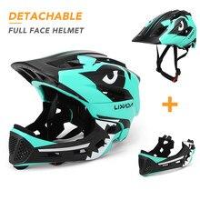 Lixada crianças capacete da motocicleta destacável rosto cheio capacete de segurança esportes para ciclismo skate