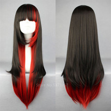 Anime Wig Japanese Style Harajuku My Hero Academia Long Straight Hair Wig Black Red Women Halloween Cosplay Fashion Anime Party(China)