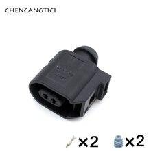 2 ensembles 2Pin Automatique Étanche Capteur de Vitesse ABS Prise 6E0973702 Câblage Harnais Connecteur de Câble 6E0 973 702 Pour VW Golf Passat B6 Polo