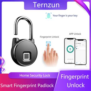 Inteligentna blokada na linie papilarne Bluetooth APP rozpoznawanie linii papilarnych odblokuj Keyless wodoodporna kłódka antykradzieżowa do drzwi walizka tanie i dobre opinie Ternzun Rohs CN (pochodzenie) P22+ Left Pull Zinc Alloy APP connection Bluetooth 4 1 biometrics 10 sets of fingerprints