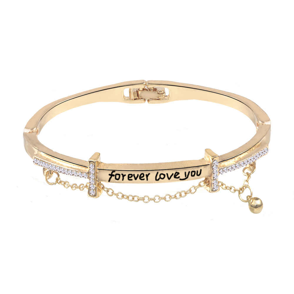 Pulseras y brazaletes de acero inoxidable de oro rosa de marca famosa de lujo pulsera de encanto de corazón para mujer para siempre