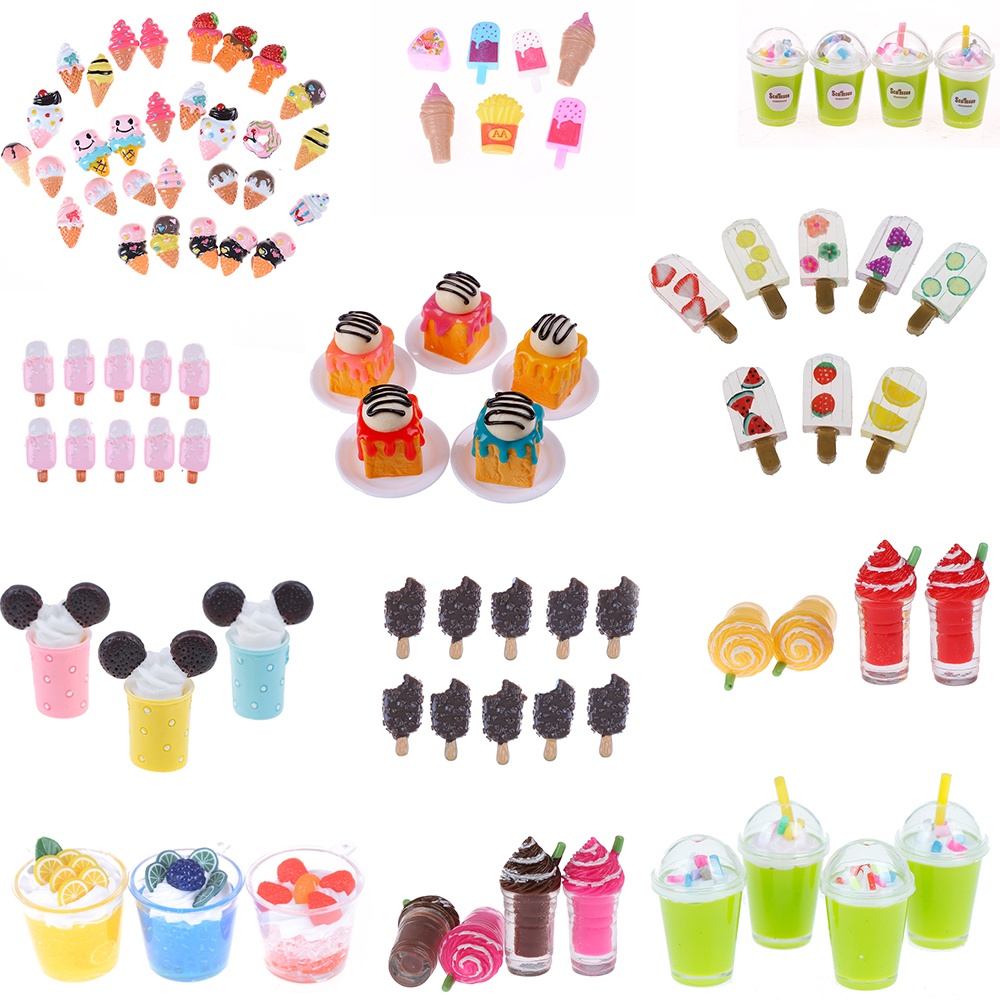 1/2/5Pcs Multicolored Dollhouse DIY Miniature Ice Creams Pretend Play House Kitchen Toy Doll Accessories For Baby Kids