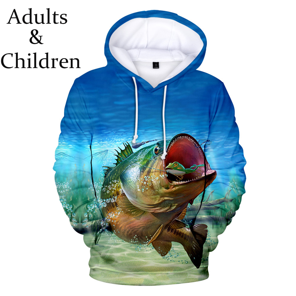 New Fashion 3D Fish Hoodies Men Women New Print Boys Girls Sweatshirt Children Casual Kids Autumn Fish Pullovers
