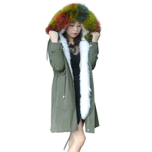2019 Fashion women's rabbit fur liner hooded long coat parkas outwear army green Large raccoon fur collar winter jacket DHL army green loose fit hooded outwear