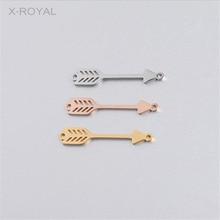 X-ROYAL 10Pcs/lot Geometric Feather Arrow Double Hole Connectors DIY Jewelry Making Findings Bracelet Necklace Charm