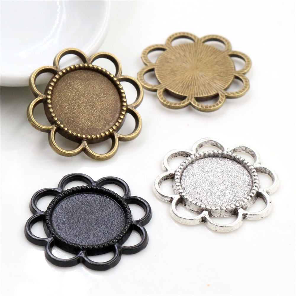 15pcs 14mm Inner Size Antique Bronze Silver Plated ,Black Flower Style Cabochon Base Cameo Setting Charms Pendant