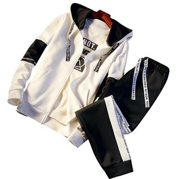 New 2Pcs/set Men's Sets White Black Color Zipper Hoodie Coat + Sports Pants Long Sleeve Loose Casual Sportswear Set Male Clothes