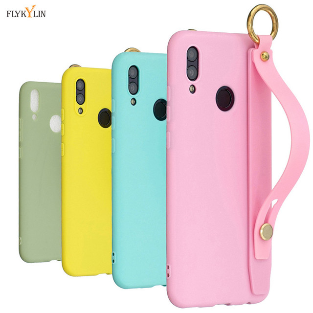 Silicone Case for Huawei Y9 2019 Cover on for Coque Huawei Y9 2019 Y 9 Prime Y92019 Wrist Strap Hand Band Bracket Soft TPU Cases