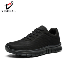 VESONAL 2019 الصيف الخريف خفيفة الوزن للجنسين أحذية رياضية حذاء رجالي شبكة عادية تنفس مريحة الذكور الأحذية المشي الأحذية